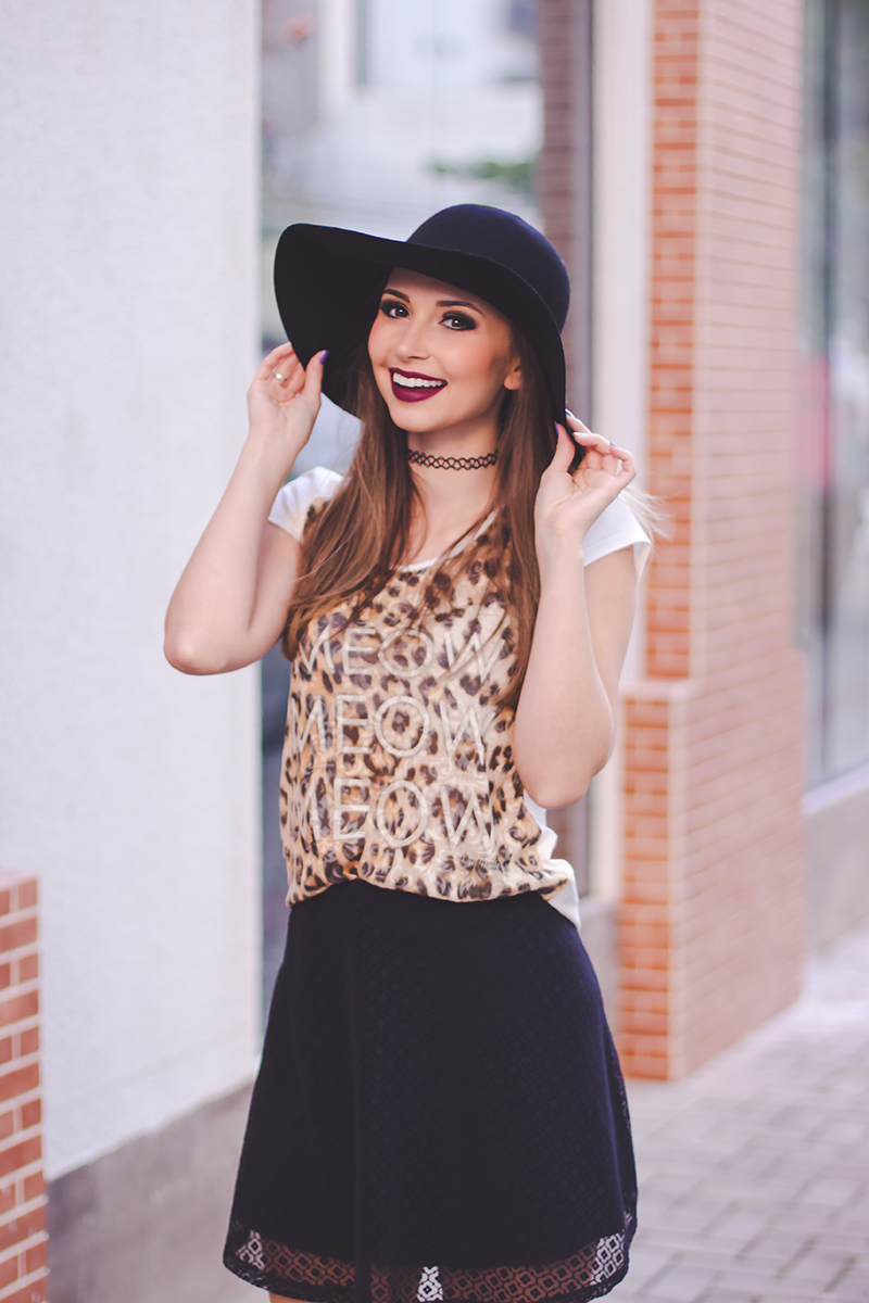9-saia preta de renda blusa animal print over the knee chapeu choker