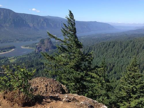 コースからの眺め。真ん中の木の左に見えるのがビーコン・ロックです。