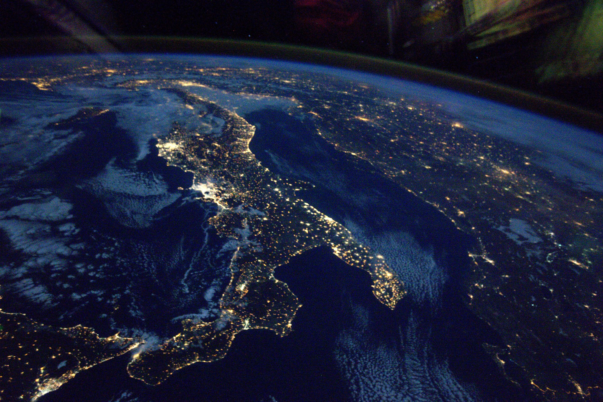 French Astronaut Thomas Pesquet - Italy at night