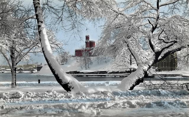 Winter view towards Kastellholmen islet, Stockholm, Sweden