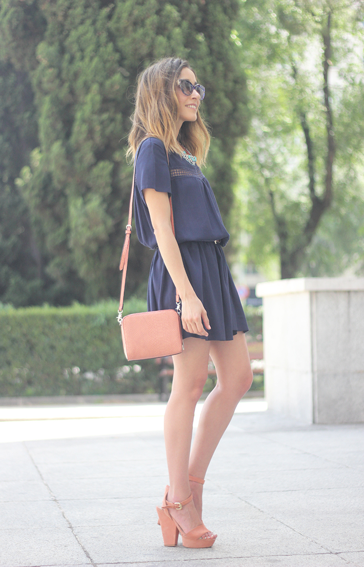 Blue dress Sheinside Wedges summer outfit16