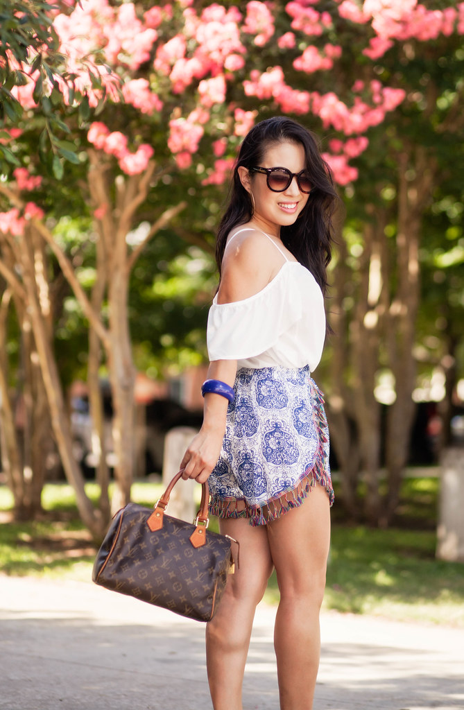 cute & little blog | petite fashion | white off shoulder top, tile print tassel shorts, lv speedy 25, nude espadrilles wedges | summer outfit