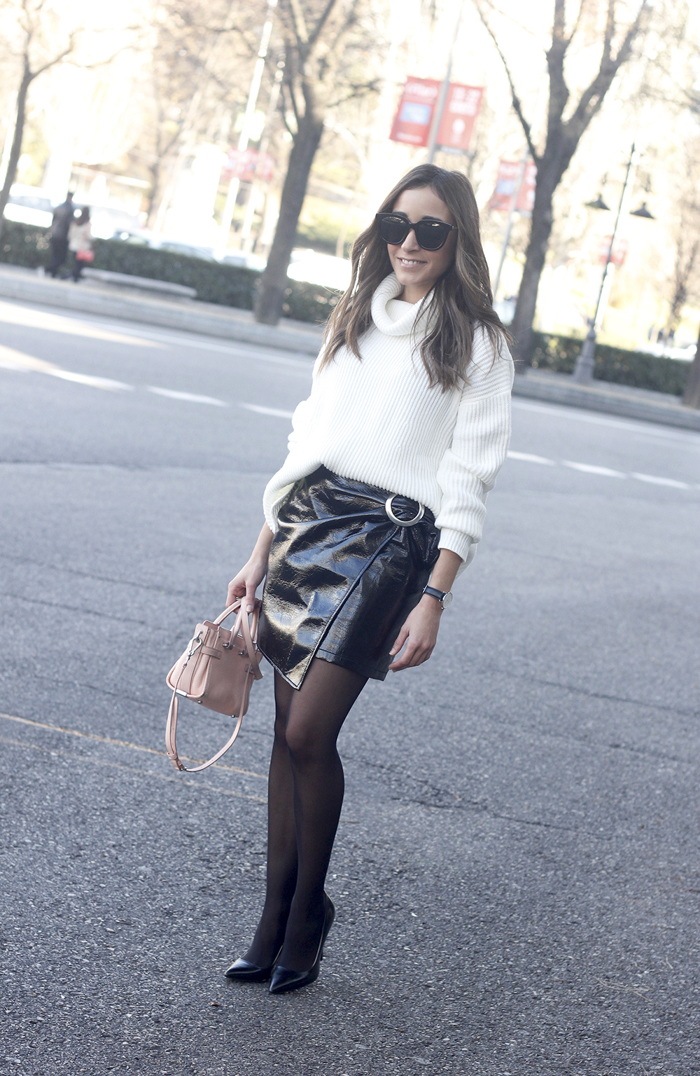 Black Patent leather skirt white sweater coach bag heels outfit style fashion winter09