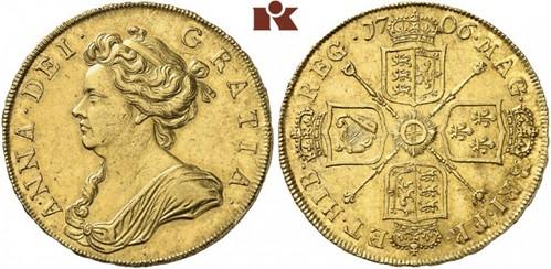 Lot 3168: Anne, 1702-1714. 5 Guineas 1706