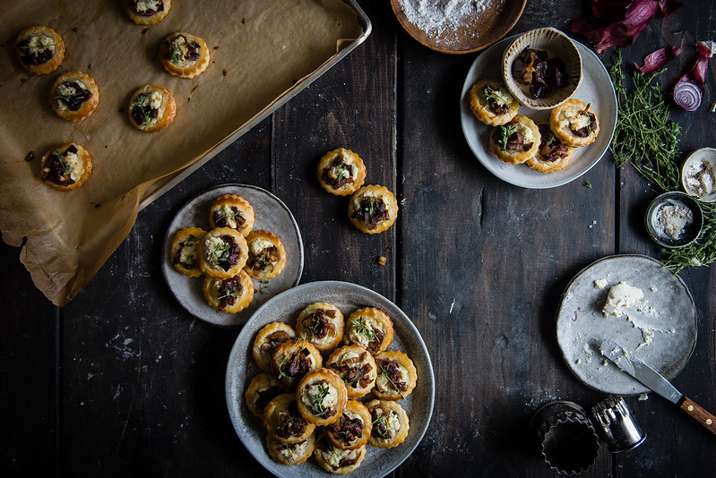 caramelized onion & boursin tartlets | two red bowls
