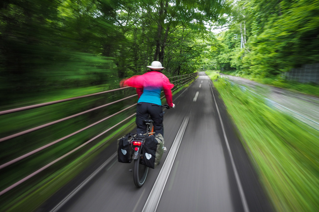 Cycle road connecting Lake Shikotsu and Chitose City, Hokkaido, Japan
