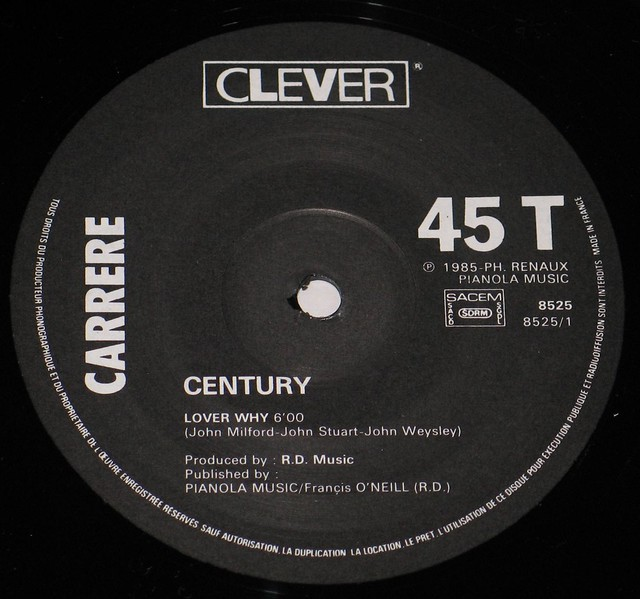 CENTURY LOVER WHY / RAINING IN THE PARK Original French Pressing on Pink Carrere Label