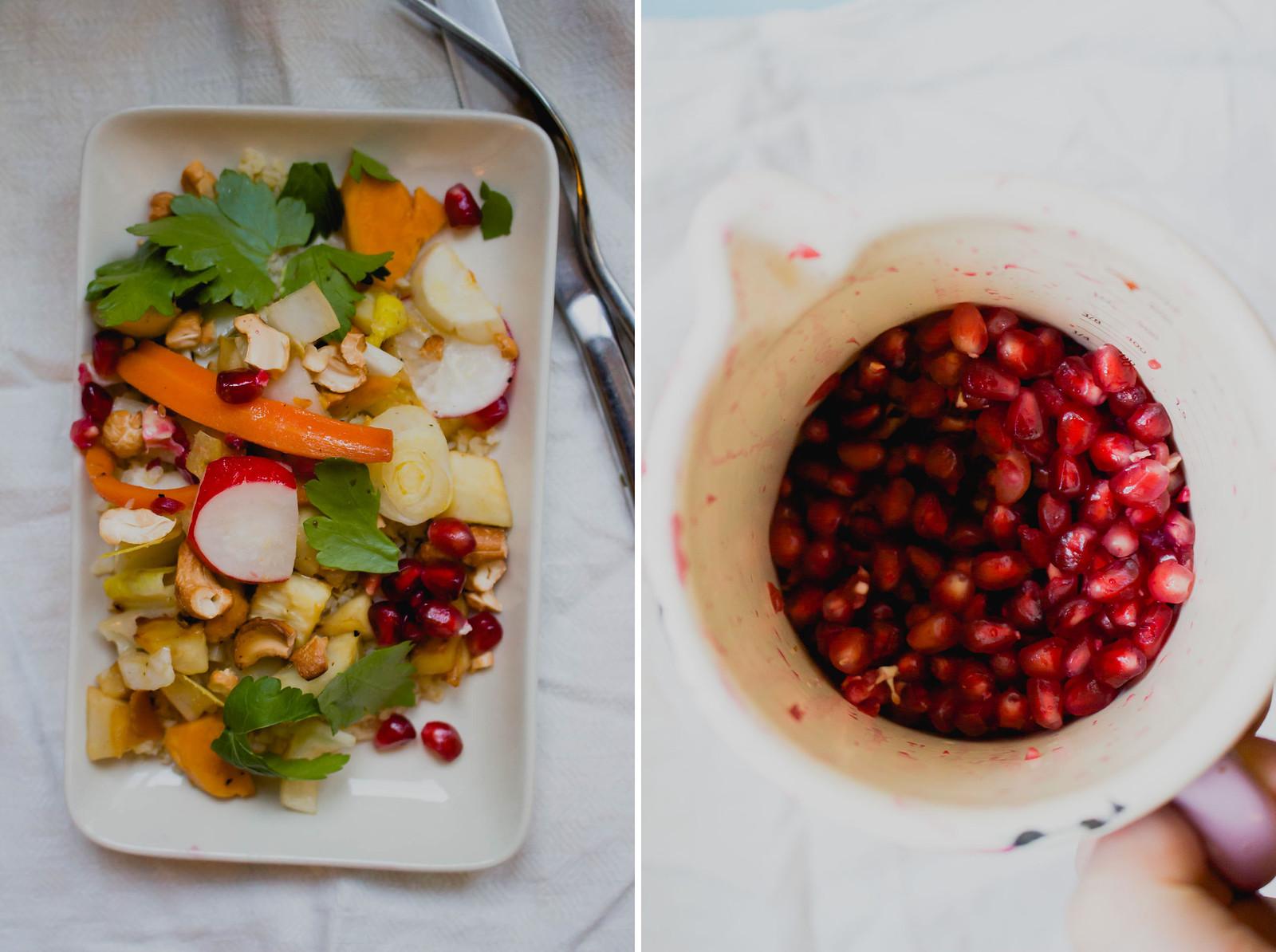 bulgursalat mit chicoree & granatapfel