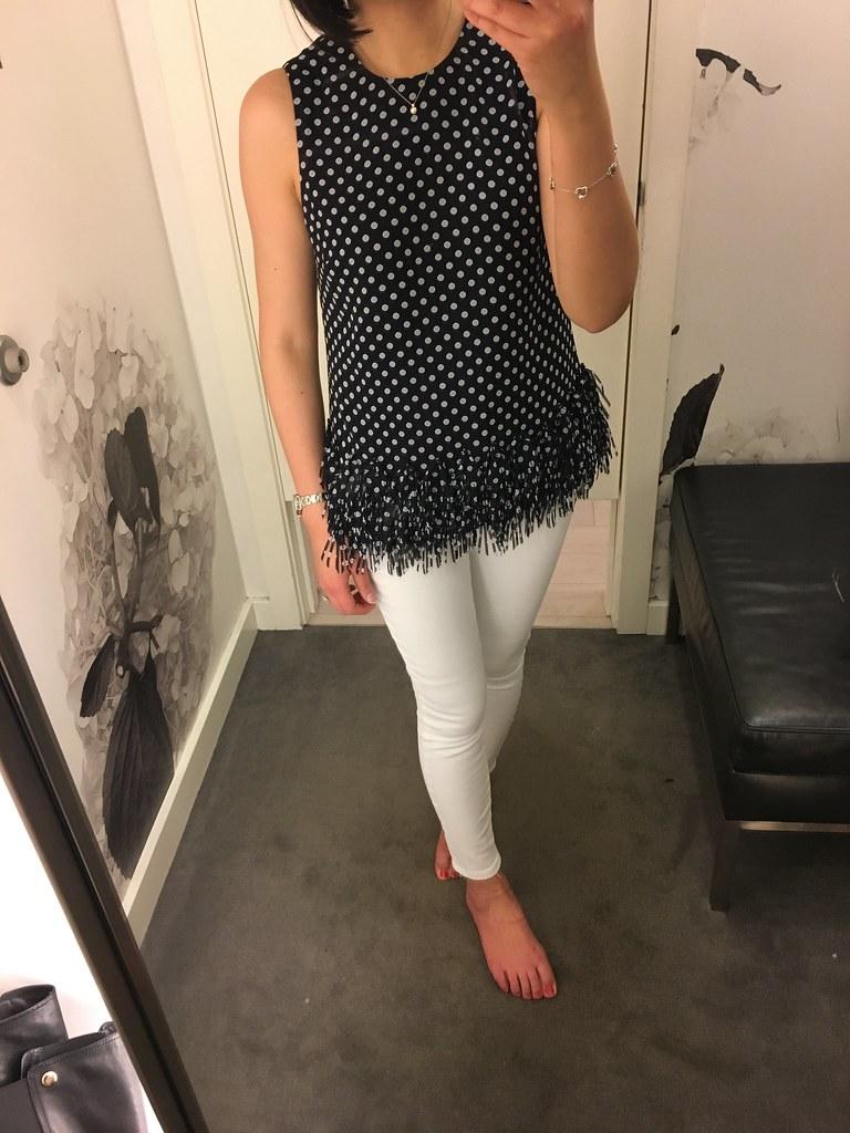 Ann Taylor Polka Dot Fringe Top, size XSP