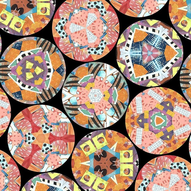 #patternjanuary #kaleidoscope I just piled a bunch of my pretty papery bits down, took a picture and then made this digitally. As I was starting out the first one I made looked too bland and boring so I added more tiny pieces of paper to break up the spac