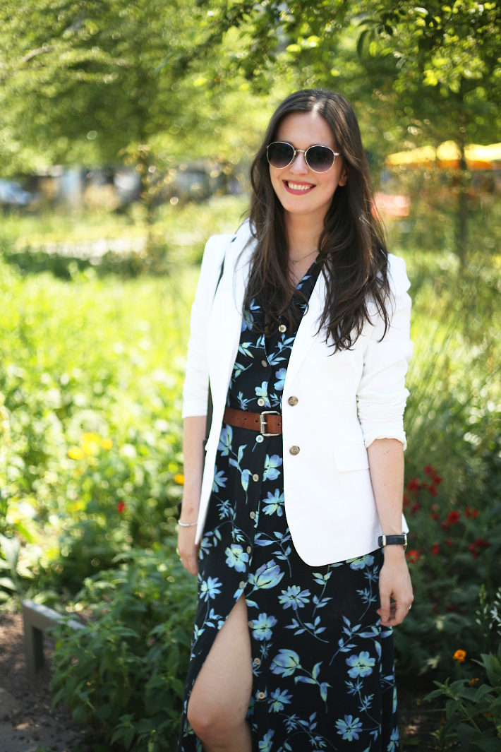 outfit: white linen blazer, vintage floral button through maxi dress