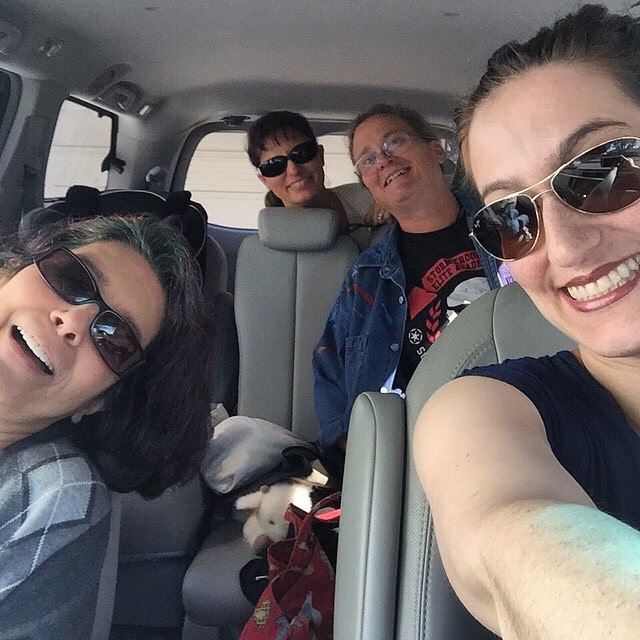 Reposting Jasmin's selfie from her van in the way to Retzlaff Winery. L to r: Gigi, Loretta(1031), me, and Jasmin.