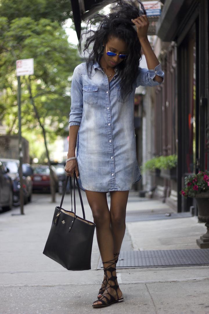 Denim Shirt Dress H&m