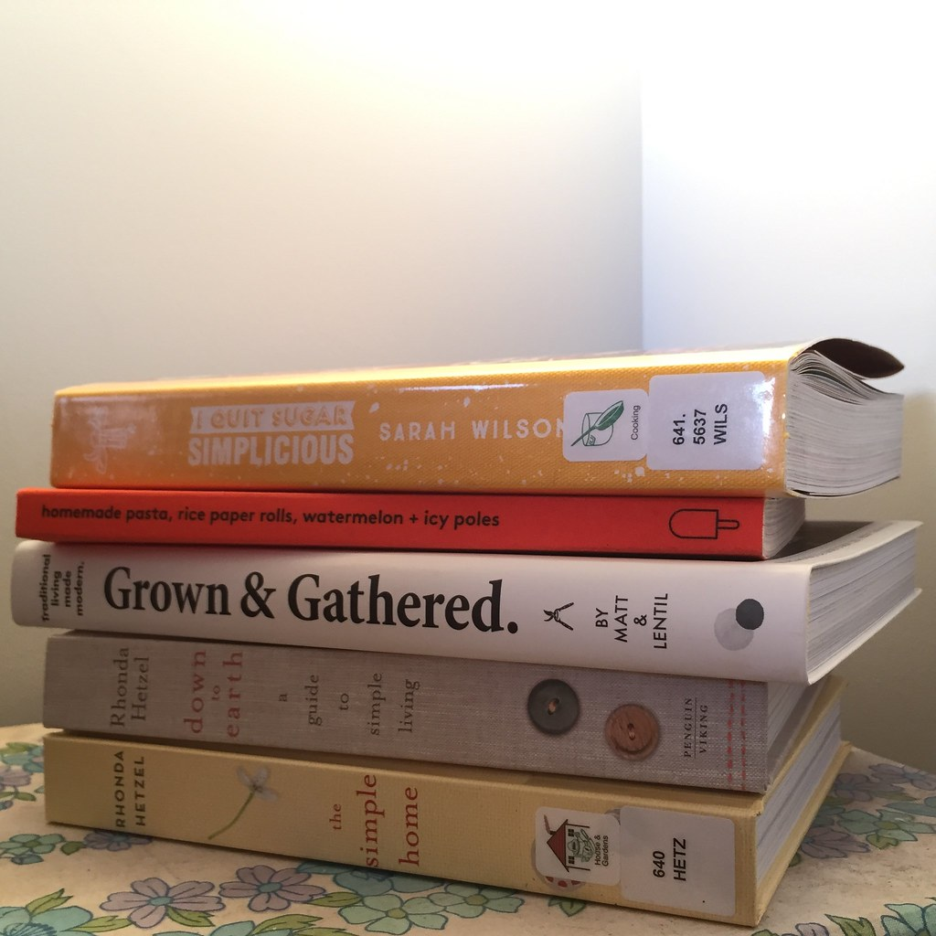 book stack of 'simplicious' by sarah wilson, lunchlady magazine issue 5, 'grown and gathered' by matt and lentil, 'down to earth' and 'the simple home' by rhonda hetzel