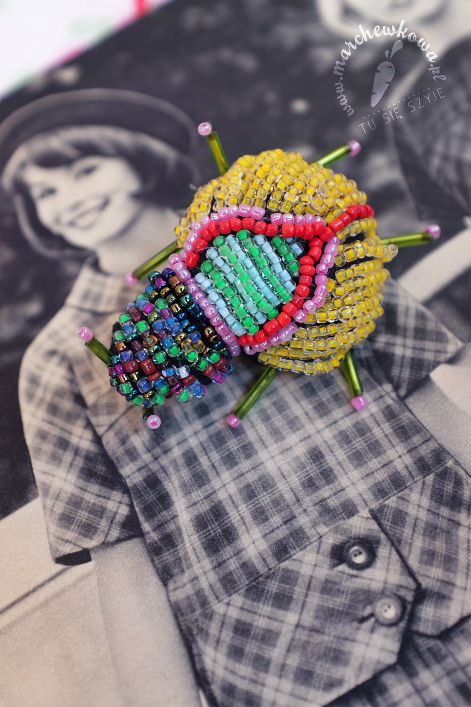 blog, marchewkowa, szycie, sewing, retro, vintage, broszka, brooch, koraliki, beads
