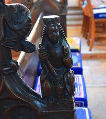 bench end: St Margaret (15th Century)