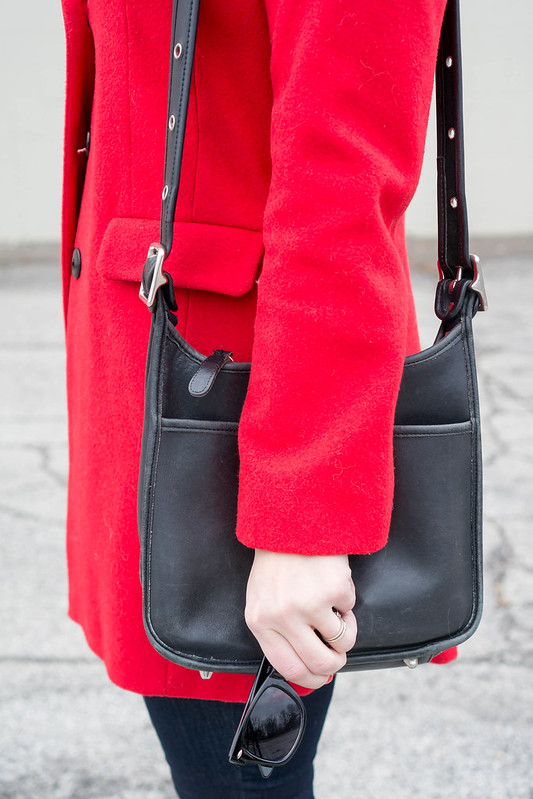 red wool coat + gray sweater + jeans + black vintage coach purse + loft jeans | Style On Target blog