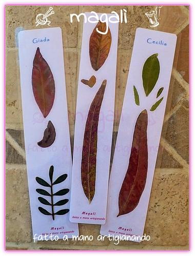 segnalibri con foglie