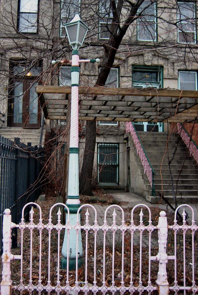 Pink Iron Wrought Iron Fence And Lamp On Ashland Avenue