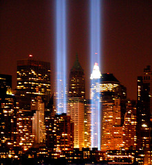 "NYC Twin Lights 9/11""Tribute in Lights""  Memorial 2005 