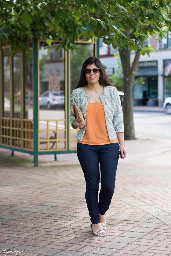 textured jacket, orange tank, denim, straw clutch.jpg