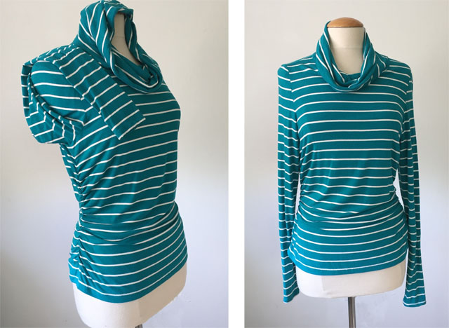 green stripe knit top