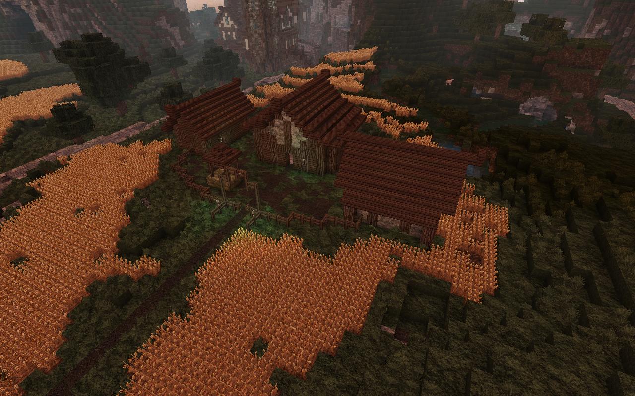 maisons Minecraft au milieu de champs avec Vonafarth