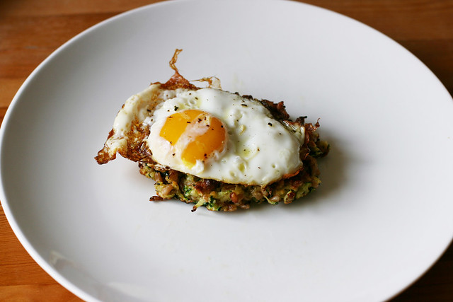 Zucchini Farro Fritters with a Fried Egg