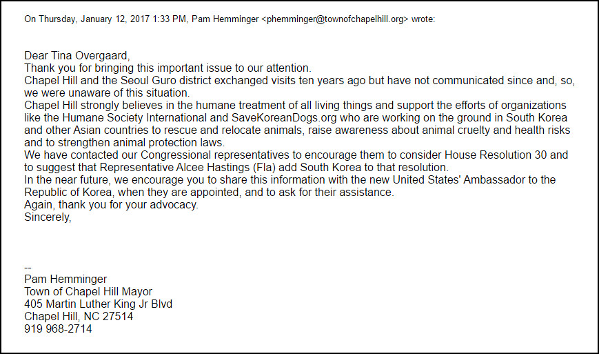 Chapel Hill Mayor Pam Hemminger responds with compassion and affirmative action to Sister City Campaign