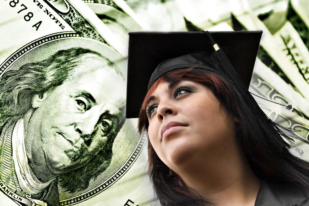 image of college graduate and $100 dollar bills