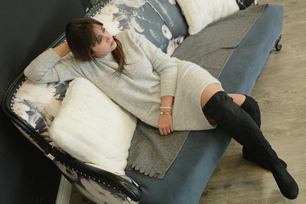 3_aritzia_sweater_dress_black_over_the_knee_flat_boots_steve_madden