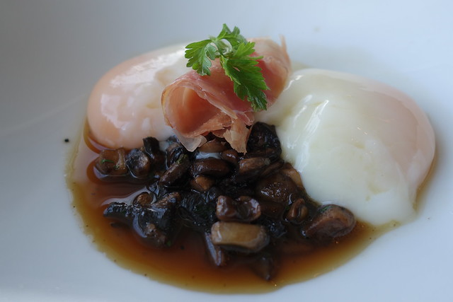 Slow-cooked Farm Eggs with Fricassée of Mushroom & Black Forest Ham. Sunrise Breakfast at Sky on 57, Marina Bay Sands.