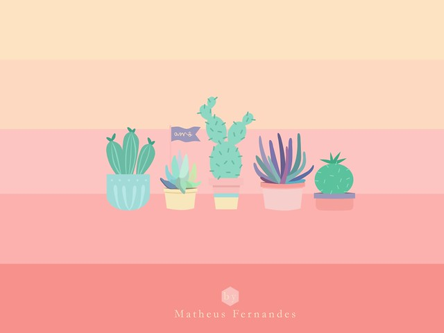 wallpaper cactus succulents matheus fernandes illustration flat design desktop