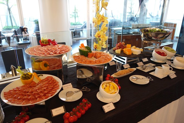 Cold Cuts, Smoked Salmon, Cheese & Salad. Breakfast Buffet spread at Sky on 57, Marina Bay Sands