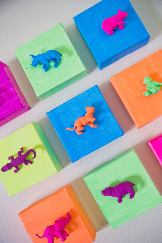 Neon Animals DIY Playroom Artwork