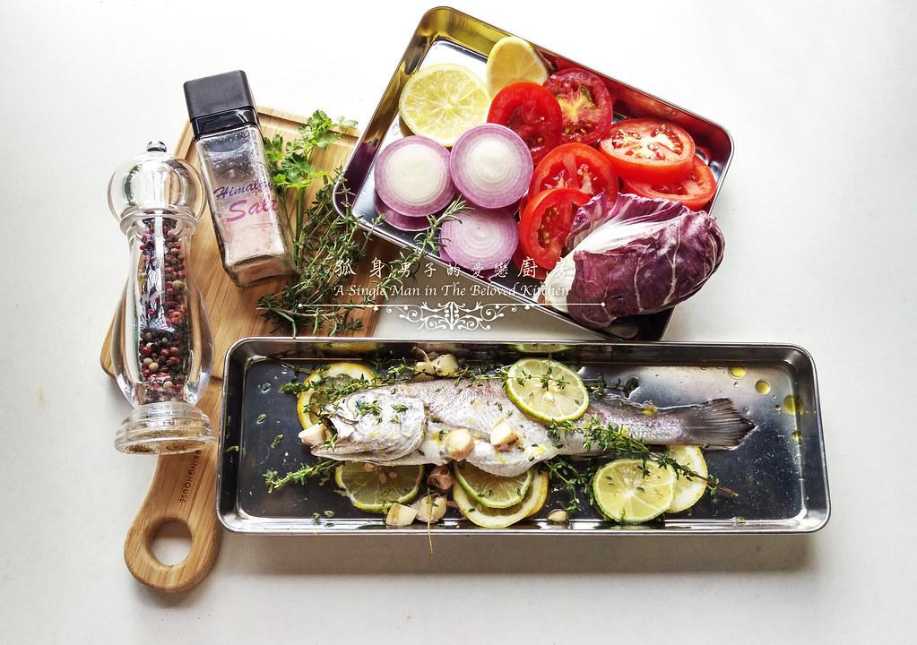 孤身廚房-地中海風味烤黑喉魚佐鑄鐵烤盤烤蔬菜2