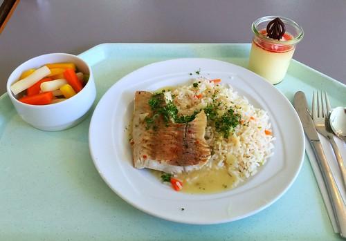 Poached coolish with rice in herb sauce / Gedünsteter Seelachs auf bunten Reis und Kräutersauce