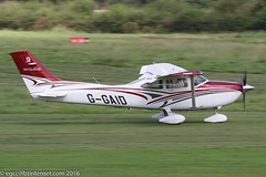 G-GAID - 2015 build Cessna 182T Skylane, arriving on Runway 08L at Barton