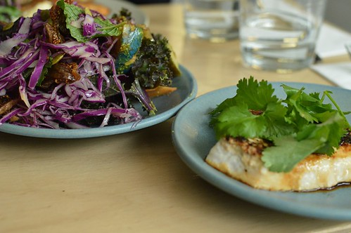 """Autumn roast & purple power salads, miso """"butter"""" swordfish"""