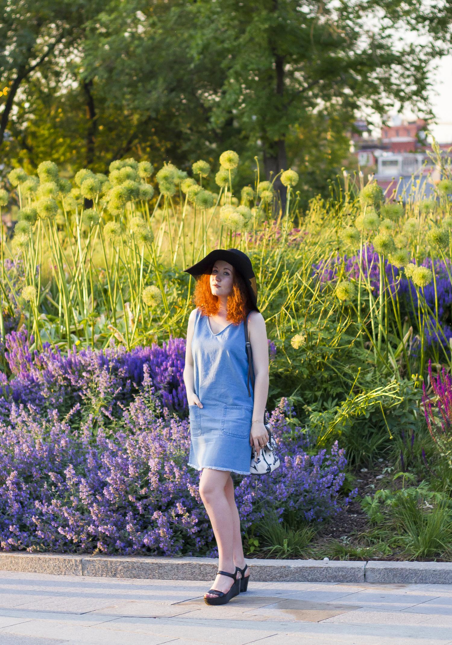 enn franco says asos hat new look denim dress carven bag prada sandals fashion blog