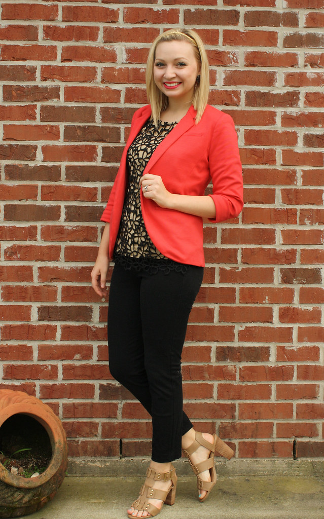 coral blazer + black and tan