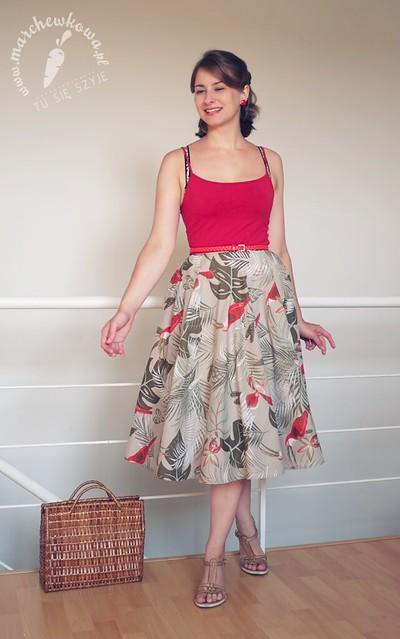 blog, marchewkowa, szycie, krawiectwo, sewing, diy, handmade, refashion, retro, vintage, 50s, lata '50., 1950, spódnica z koła, tukany, ptaki, bawełna