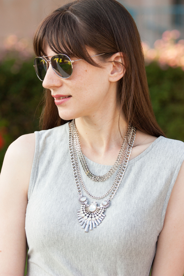 Happiness Boutique Necklace, Statement Necklace, Grey Midi Dress