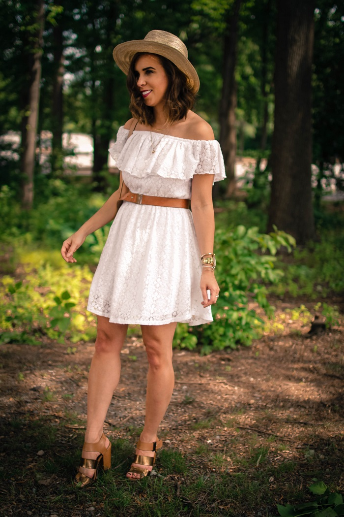 aviza style. a viza style. andrea viza. fashion blogger. dc blogger. off the shoulder white dress. abercrombie dress. floppy hat. white dress. summer style. 3