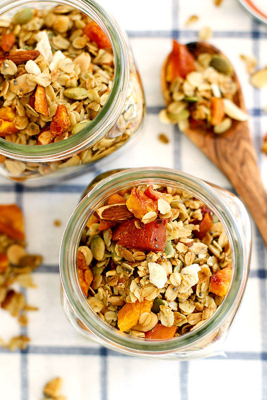 Ginger Peach Granola | girlversusdough.com @girlversusdough