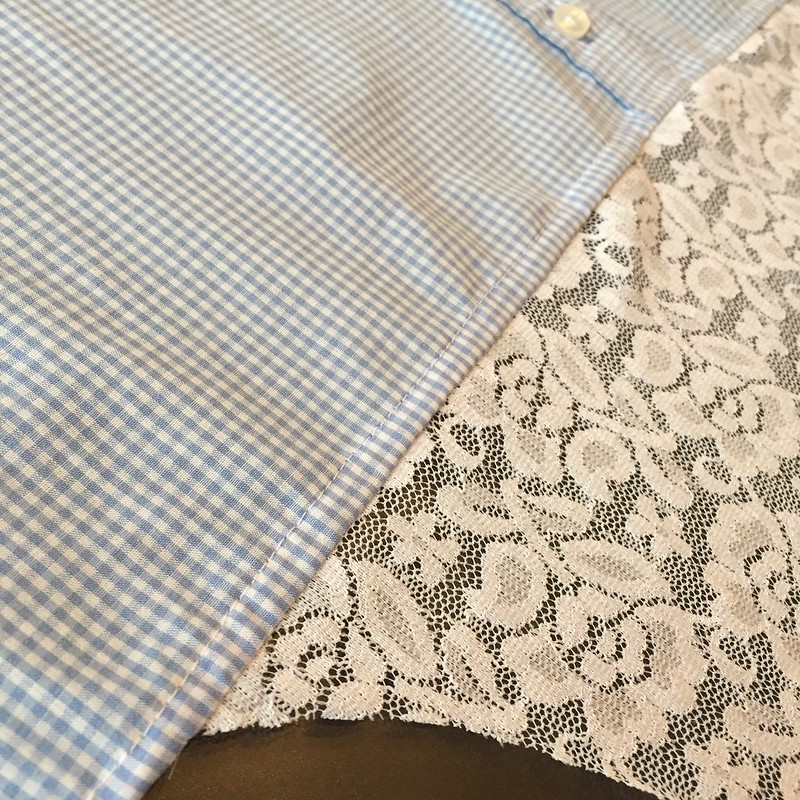 Gingham and Lace Blouse - In Progress