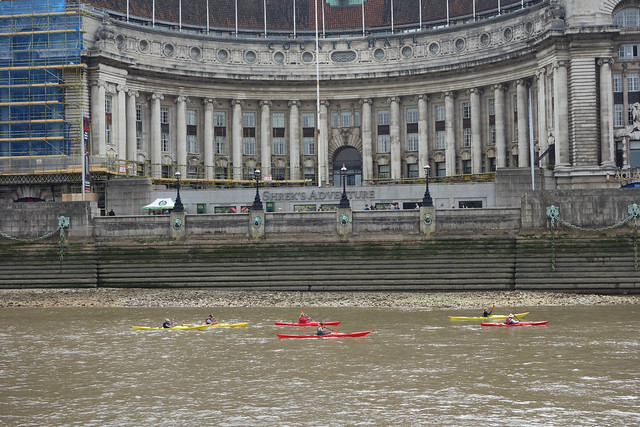 Brave kayakers on the Thames