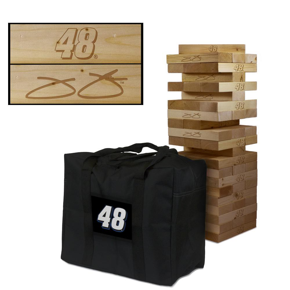 JIMMIE JOHNSON #48 Wooden Stained Tumble Tower Game