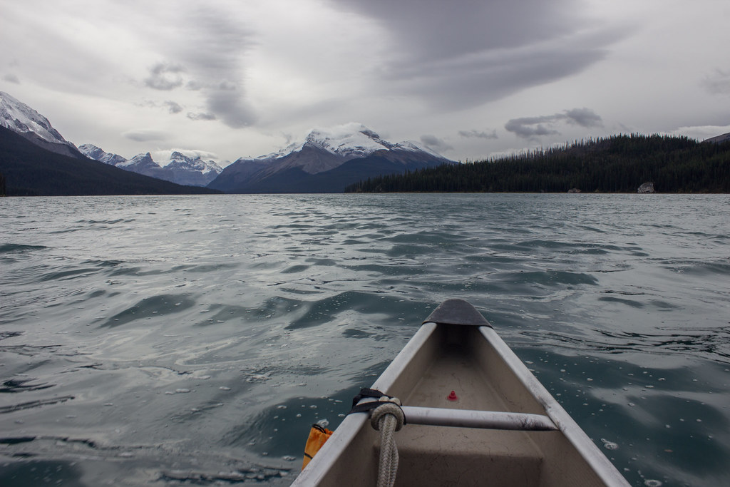 Kayaking on Maligne Lake