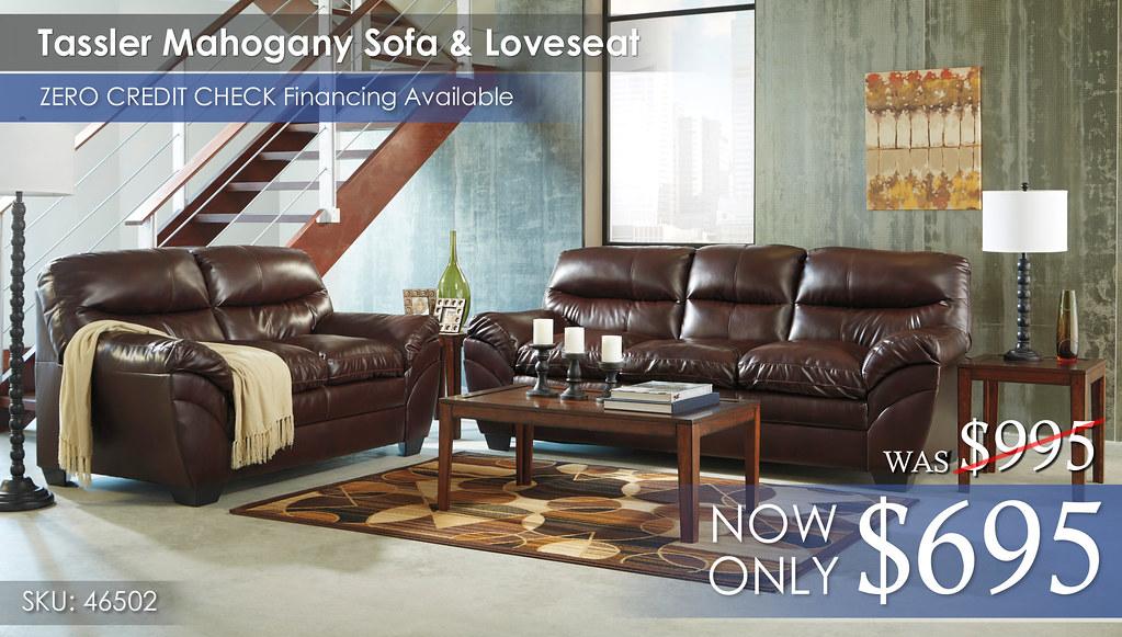 Tassler Mahogany Sofa & Loveseat 46502